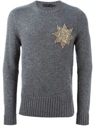 Alexander Mcqueen Embellished Badge Sweater Grey