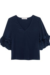 See By Chloe Ruffle Trimmed Silk Crepe De Chine Top Navy