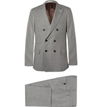 Brunello Cucinelli Grey Slim Fit Houndstooth Linen Wool And Silk Blend Suit Gray