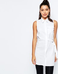 Missguided D Ring Detail Sleeveless Shirt White