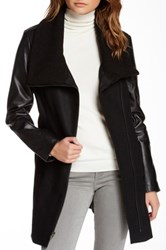 Truth Of Touch Mercer Leather Sleeve Wool Blend Coat Black