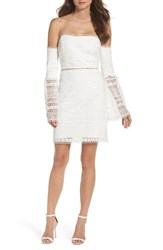 Foxiedox Women's Catalina Lace Off The Shoulder Sheath Dress White
