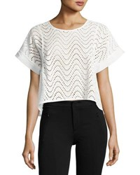 J.O.A. Lace Up Embroidered Eyelet Top White