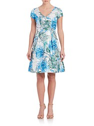 Theia Floral Printed Fit And Flare Dress Capri Blue
