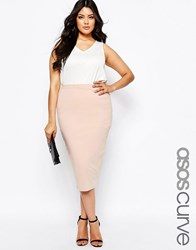 Asos Curve Midi Pencil Skirt In Jersey Nude Pink