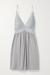 Eberjey Colette Mademoiselle Lace Paneled Stretch Modal Chemise Gray