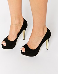 Ravel Peeptoe Platform Heeled Shoes Black