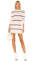 Line And Dot Eska Sweater Dress In White. Ivory And Wine