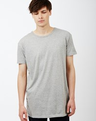 The Idle Man Long Line Short Sleeve T Shirt Grey