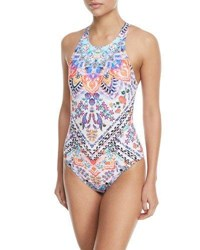 Lablanca Majorca High Neck Printed Strappy Back One Piece Swimsuit Multi