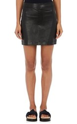 Helmut Lang Women's Grained Leather Miniskirt Black
