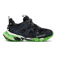 Balenciaga Black And Green Glow Track Sneakers 1003 Blk Gl