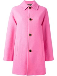 Just Cavalli Flared Mid Length Coat Pink And Purple