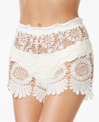 Jessica Simpson Sheer Lace Cover Up Shorts Women's Swimsuit Vanilla