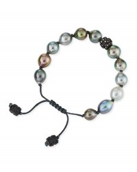 Armenta Old World Tahitian Pearl Pull Cord Bracelet With Champagne Diamonds