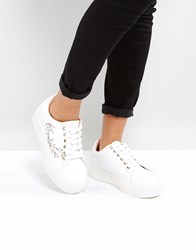 Park Lane Embroidery Trainer White Pu