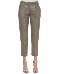Acne Studios Pleated Houndstooth Cropped Pants Creme Black