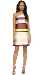 Msgm One Shoulder Stripe Dress Pink Yellow