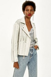 Topshop Leather Diamante Biker Jacket White