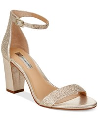 Inc International Concepts Kivah Block Heel Dress Sandals Only At Macy's Women's Shoes Pearl Gold
