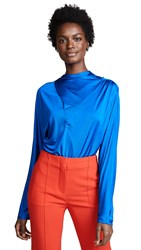 Cedric Charlier Draped Top Blue