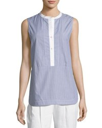Vince Poplin Striped Shell Top Blue White