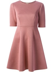 P.A.R.O.S.H. Flared Short Sleeve Dress Pink And Purple