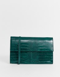 French Connection Laurie Croc Folded Shoulder Bag Green