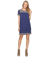 Lucky Brand Embroidered Shift Dress Bright Navy Women's Dress