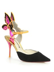 Sophia Webster Mimosa Metallic Leather And Suede Butterfly Pumps Black Fuschia