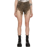 R 13 R13 Tan Shredded Slouch Shorts