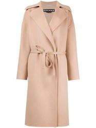 Rochas Board Lapel Belted Coat Pink Purple