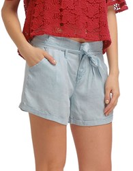 Walter Baker Madison Solid Wide Leg Shorts Light Wash