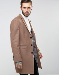 Noose And Monkey Overcoat Dark Camel Tan