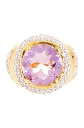 Genuine Amethyst And Simulated Diamond Large Round Tiered Ring Purple