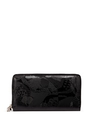 Alexander Mcqueen Camouflage Skull Patent Leather Continental Wallet Black