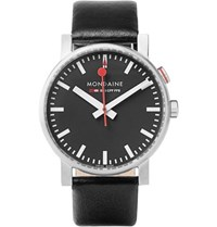 Mondaine Evo Alarm Stainless Steel And Leather Watch Black