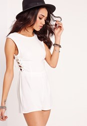 Missguided Petite Exclusive Lace Up Playsuit White White