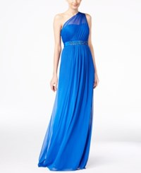 Adrianna Papell Embellished One Shoulder Gown Royal