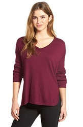 Women's Vince Camuto Rib Sleeve High Low V Neck Sweater Perfect Plum