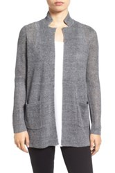 Eileen Fisher Organic Linen Notch Collar Open Front Cardigan Gray