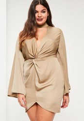 Missguided Plus Size Beige Hammered Satin Tab Neck Dress Champagne