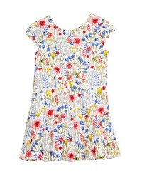 Mayoral Floral Drop Waist Dress Blue