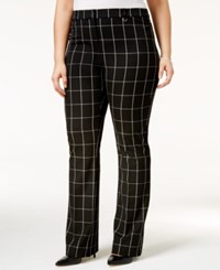 Alfani Plus Size Printed Tummy Control Trousers Only At Macy's Yarndye Plaid