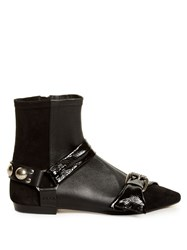 Isabel Marant Reida Patent Leather And Suede Ankle Boots Black