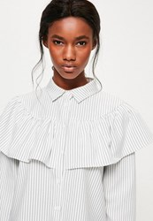Missguided White Striped Frill Long Sleeve Collared Shirt