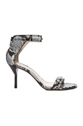 3.1 Phillip Lim Martini Python Print Mid Heel Leather Sandals In White Black Animal Print