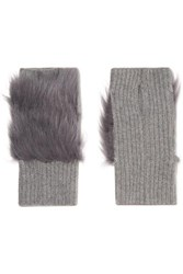 Karl Donoghue Shearling Trimmed Ribbed Cashmere Fingerless Gloves Gray