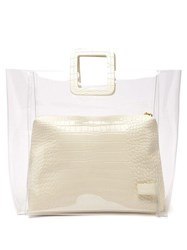 Staud Shirley Large Pvc And Leather Tote Bag Cream
