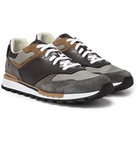Berluti Run Track Leather Suede And Mesh Sneakers Gray